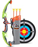 Light Up Archery Bow And Arrow Toy Set for Girls With 3 Suction Cup Arrows, Target, and Quiver