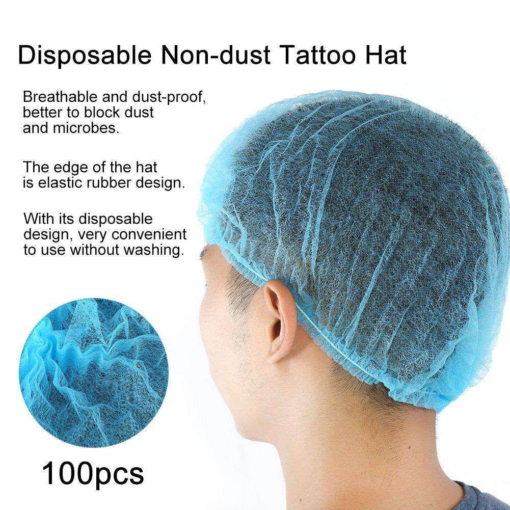 Tattoo Accesories 100pcs Disposable Non-woven Tattoo Makeup Cap Anti Dust Elastic Mesh Pleated Bouffant Hat Spa Hair Salon Beauty Sterile Supplies