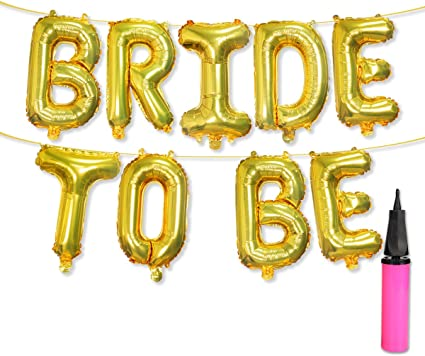 16 Inch Bride To Be Foil Letter Balloon Banner Bachelorette Wedding Party Decor
