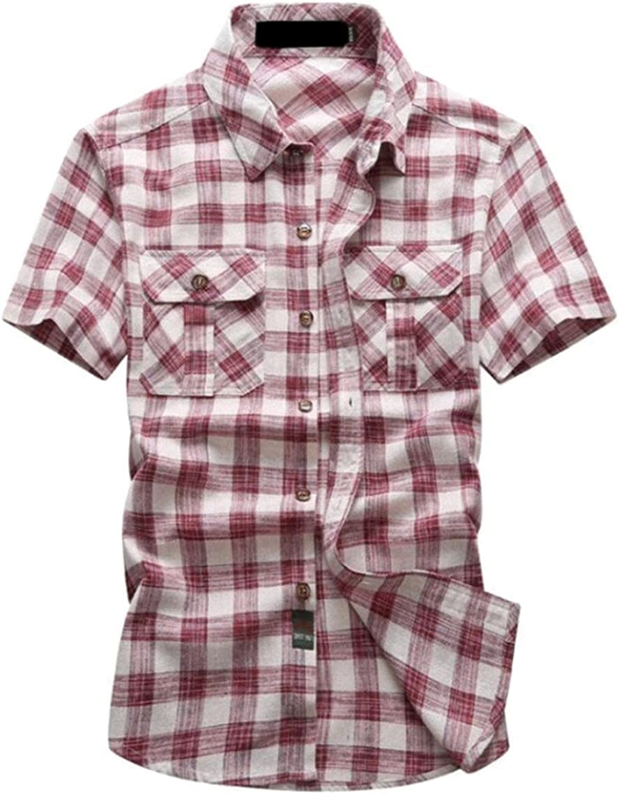 desolateness Mens Casual Cotton Short Sleeve Slim Fit Button Down Plaid Dress Shirts