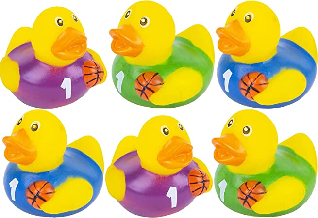 2 The Dreidel Company Happy Easter Rubber Duck Toy Bunny Rabbit Duckies for Kids Easter Eggs Bath Birthday Gifts Baby Showers Summer Beach and Pool Activity 6-Pack