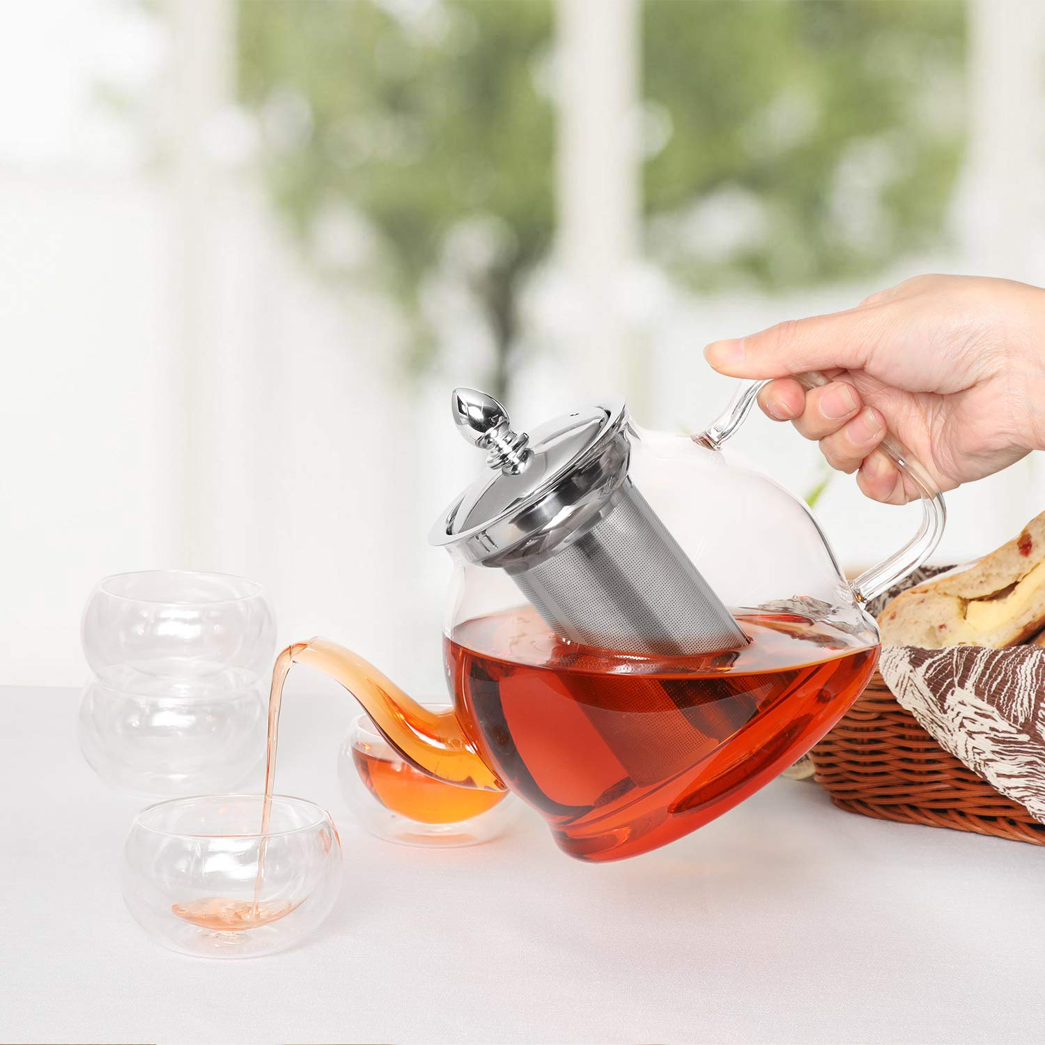 Hiware Teapot Set, 35 Oz Glass Teapot with Removable Infuser and Cups, Stovetop Safe Tea Kettle, Blooming and Loose Leaf Tea Maker Set by Hiware (Image #5)