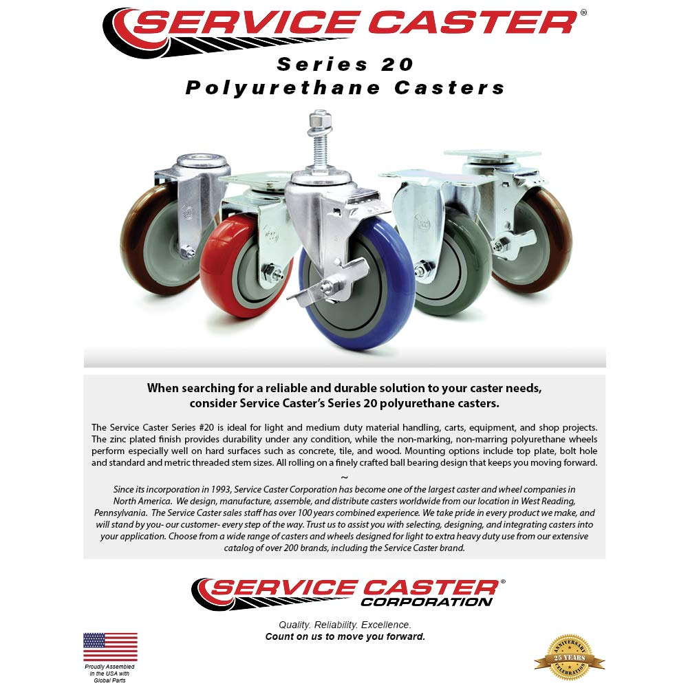 300 lbs Capacity//Caster Service Caster Brand Polyurethane Swivel Threaded Stem Caster w//4 x 1.25 Gray Wheel and 12mm Stem /& Total Locking Brake