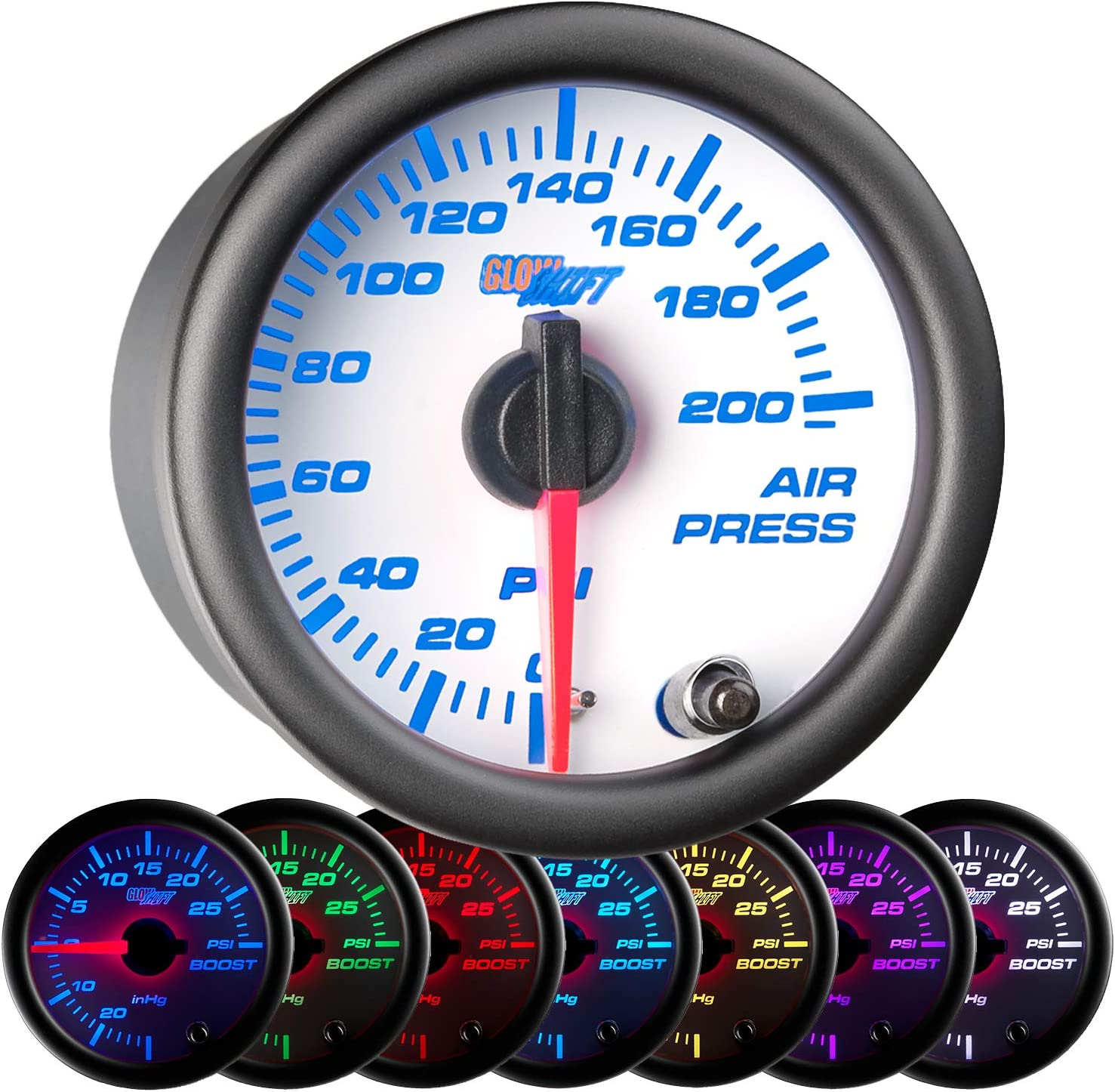 White LED Backlit for Air Ride Suspension Systems 2-1//16 52mm Smoked Lens GlowShift Tinted Series 200 PSI Mechanical Air Pressure Gauge