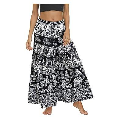 MsAnya Womens Palazzo Slit Wide Leg Pants Summer Casual Beach Boho Hippie Bohemian Pilate Plus Size 10-18: Clothing