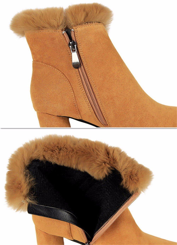 FLYRCX Die Dame und von Herbst und Dame Winter Leder wies Heels mit dickem Schnee Stiefel warme cashmere Schuhe Europäische Größe: 34-39 A 5b01d5