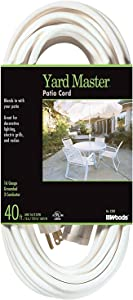 Yard Master 992382 White Patio 40-Foot, 3-Pronged, 16 Gauge Extension Cord, 13 AMPS, 125 Volts, 1625 Watts, Ideal for Use with Outdoor Appliances, Decorative Lights and Holiday Displays