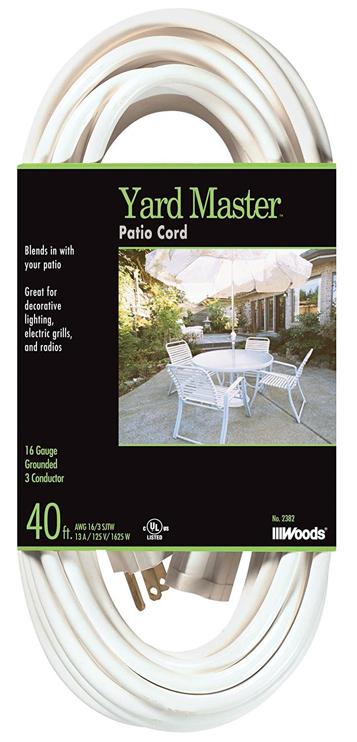 Yard Master 992382 White OUtdoor Patio Cord 40-Foot