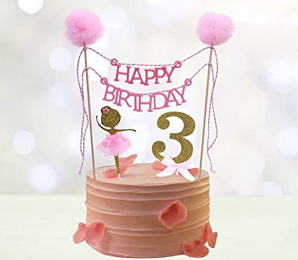 Third Birthday Cake Toppers Happy Bunting Topper Ballerina 3