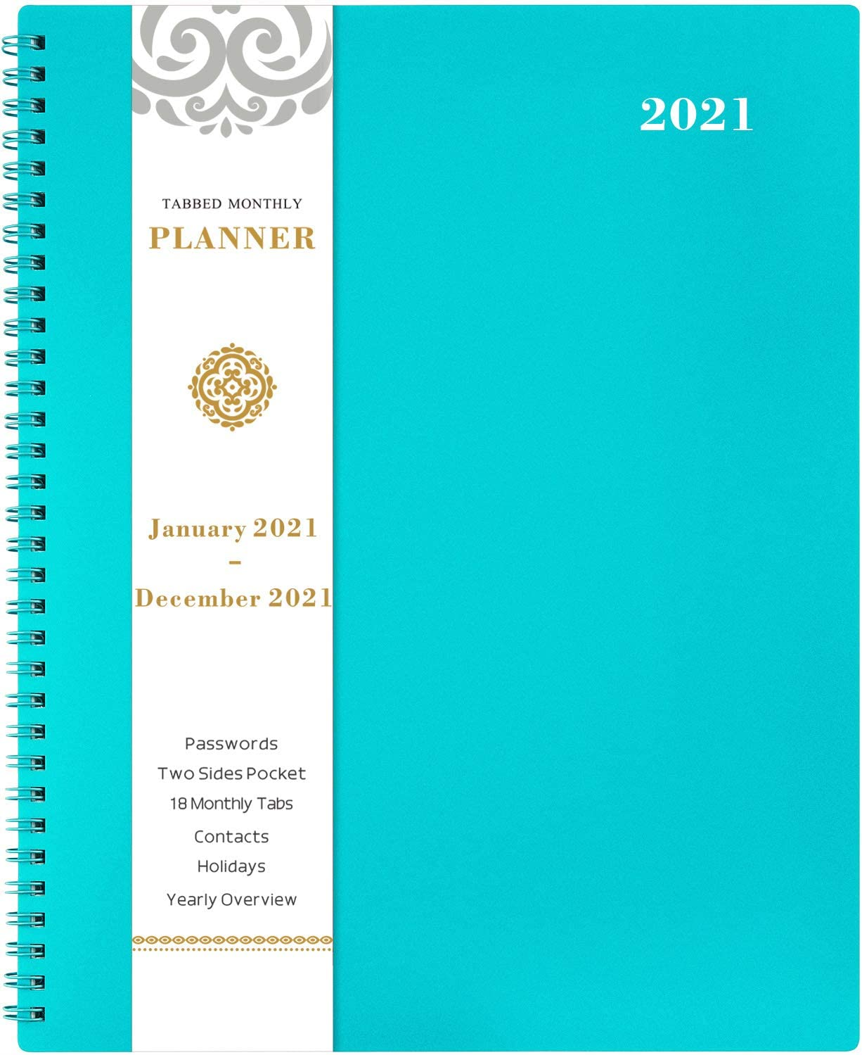 """2021 Monthly Planner - 12-Month Planner with Tabs, Pocket, Label, Contacts and Passwords, 8.5"""" x 11"""", Jan. - Dec. 2021, Twin-Wire Binding - Teal by Artfan : Office Products"""