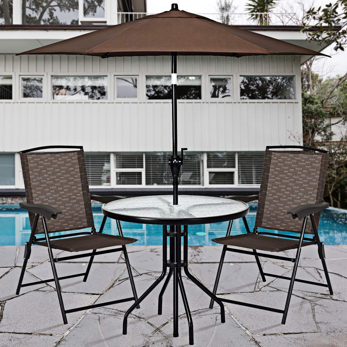 Goplus Sets of 4 Folding Sling Chairs Portable Chairs for Patio Garden Pool Outdoor & Indoor w/Armrests by Goplus (Image #2)