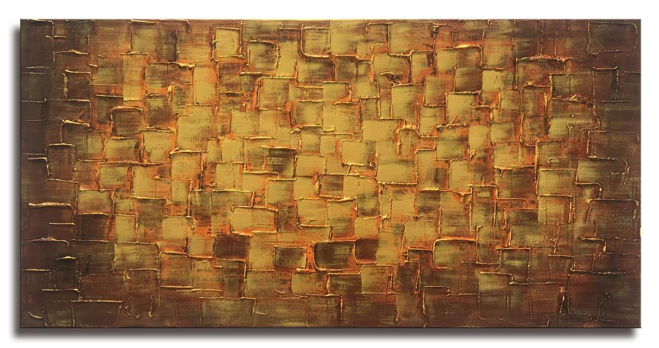MyArton Textured Abstract Squares Canvas Wall Art Hand Painted Modern Golden Yellow Oil Painting for Decoration Ready to Hang 48x24inch
