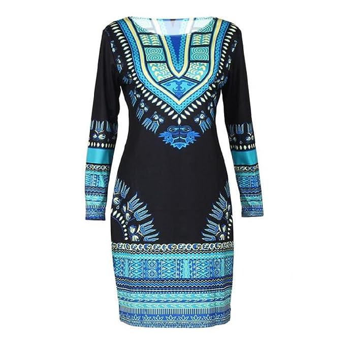 Yogogo Frauen Traditionelle afrikanische Druck Dashiki Bodycon Sexy Langarm  Kleid (S)