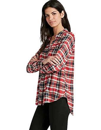 0a1937bc Lucky Brand - Women's - Boyfriend Fit - Red Plaid Twill Flannel Shirt (X-