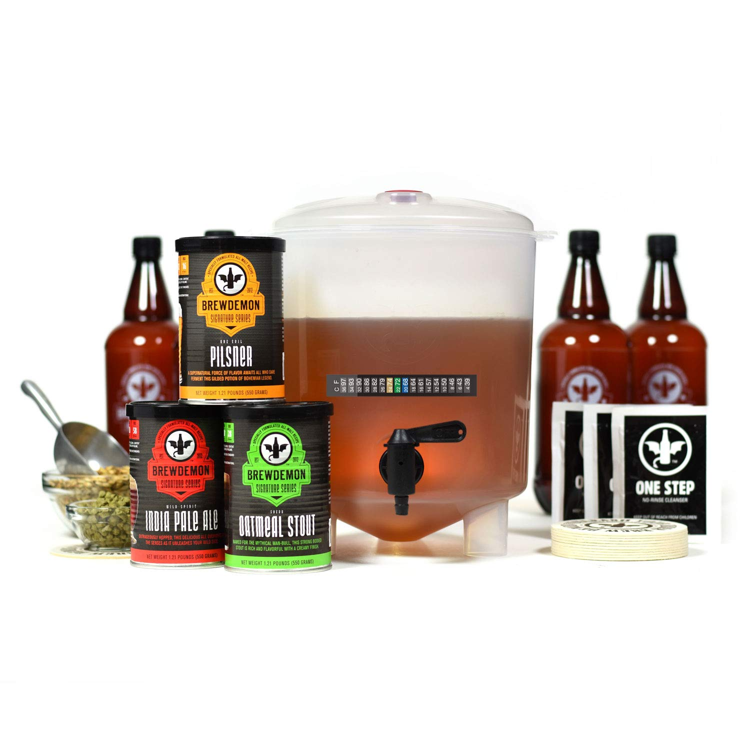 BrewDemon Craft Beer Kit with Bottles - Conical Fermenter Eliminates Sediment and Makes Great Tasting Home Made Beer - 1 gallon pilsner, stout, and pale ale kit