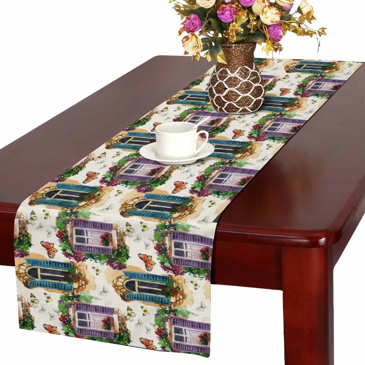 Watercolor Window Table Runner Home Decor 14 X 72 Inch,Floral Butterfly Table Cloth Runner for Wedding Party Banquet Decoration