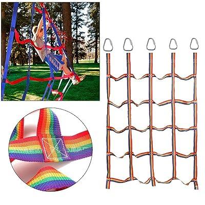 Kids Climbing Net Climbing Net-Outdoor Rainbow Ribbon Net Physical Training Climbing Net Climbing Attachments Climbing Rope Ladder for Daily Sports and Entertainment : Baby