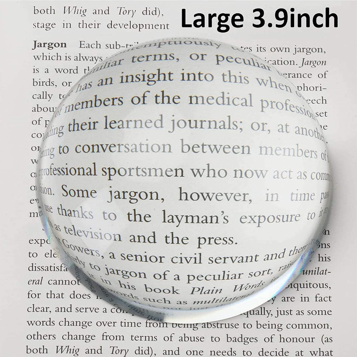 Large 3.9 Inch Glass Dome Magnifier, Paper Weight by Hombae, Genuine Crystal Glass, Easy to Glide Paperweight, Professional Grade Reading Aid for Newspapers, Maps, Books, Christmas Gift