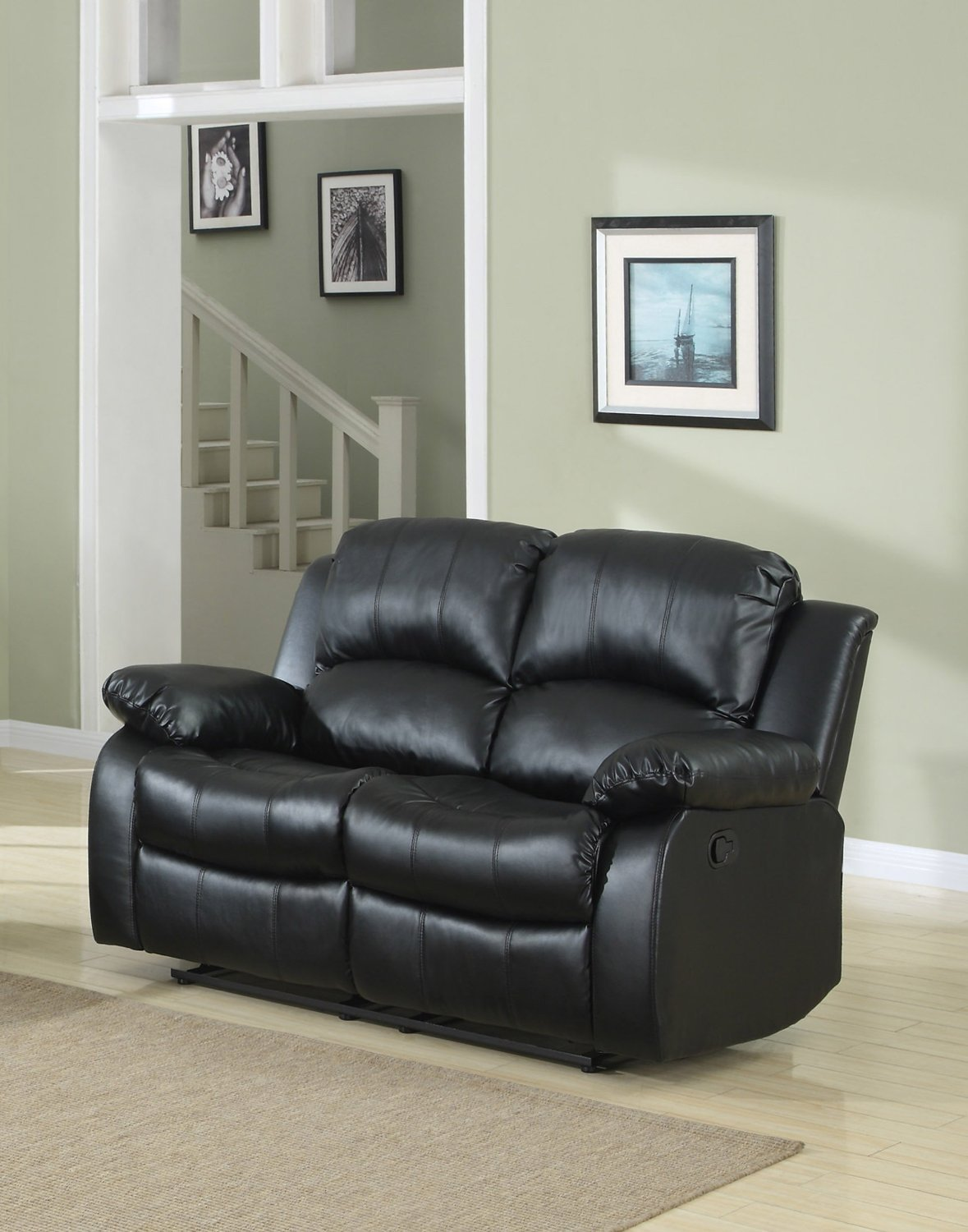 amazoncom classic double reclining loveseat bonded leather living room recliner black kitchen u0026 dining