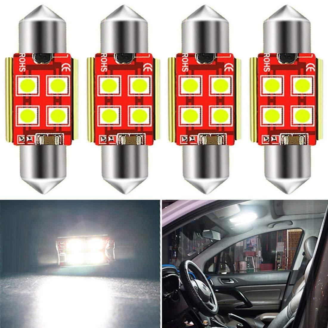 10pcs Car RV Interior Festoon Dome Lamp Bulbs 12V 5050 31mm 4SMD LED White Light