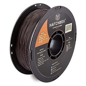HATCHBOX PLA 3D Printer Filament, Dimensional Accuracy +/- 0.03 mm, 1 kg Spool, 1.75 mm, Brown