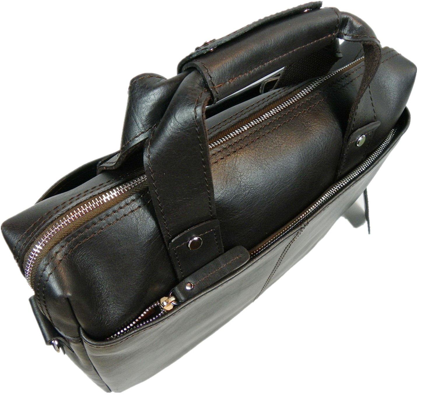 Vagabond Traveler 15'' Classic Fine Leather Messenger Bag Daily Bag L29. Distress by Vagabond Traveler (Image #4)