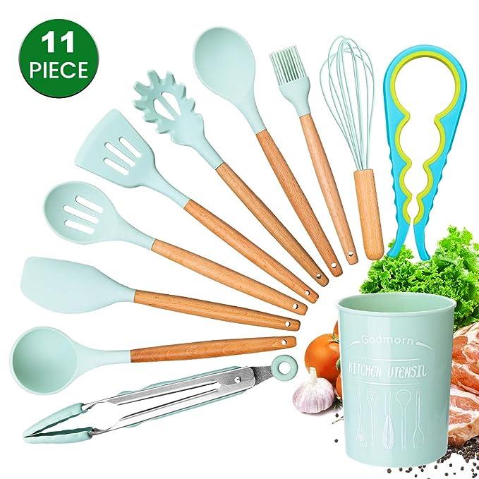 Compra Juego de utensilios de cocina Godmorn, 10 piezas de utensilios de cocina con soporte de plástico, kit de utensilios de cocina de silicona, ...