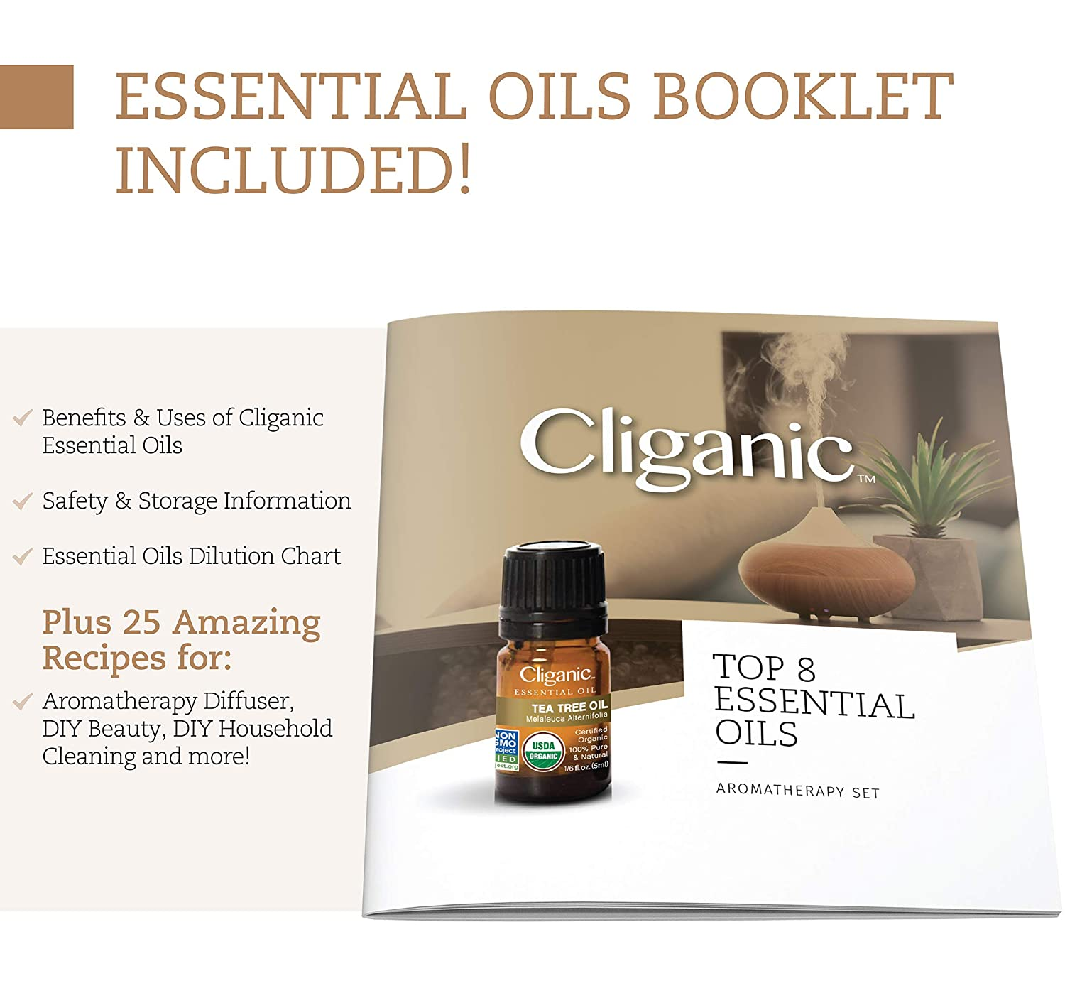 Cliganic USDA Organic Aromatherapy Essential Oils Set (Top 8), 100% Pure Natural - Peppermint, Lavender, Eucalyptus, Tea Tree, Lemongrass, Rosemary, Frankincense & Orange | Cliganic 90 Days Warranty: Beauty