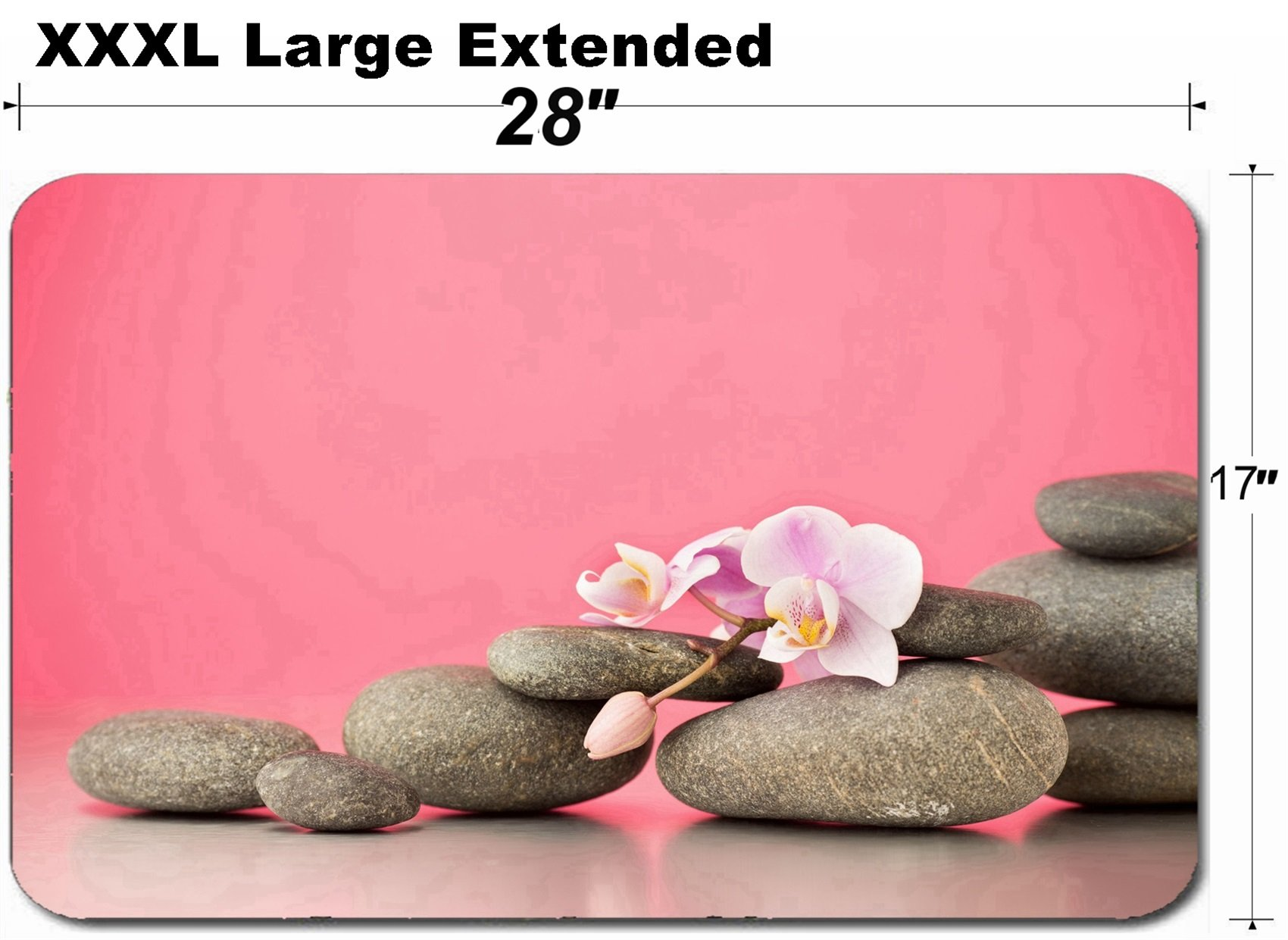 MSD Large Table Mat Non-Slip Natural Rubber Desk Pads Image ID 27140351 Spa Stones on Pink Background with Orchids