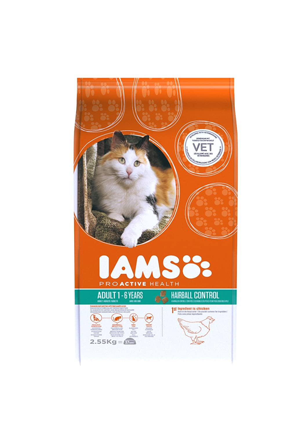 Amazon.com : Iams Cat Food Adult Hairball Control Succulent Roast Chicken 2.55kg 2550g : Pet Supplies