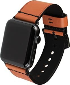 Grit & Grazia Premium Leather Apple Watch Band for 42mm 44mm, Stylish Replacement Vintage Apple Watch Leather Bands for Men iWatch Series 6, 5 4 3 2 1 SE Stainless Steel Buckle (Burnt Orange, 42/44mm)