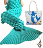 URSKY Crochet Knitted Cozy Mermaid Tail Blanket, 76.8 x 35.5 -Inch, Scale Green