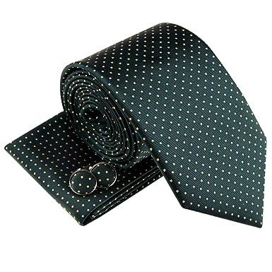 Juego de corbata, pañuelo y gemelos, tejido con diseño de pequeños ...