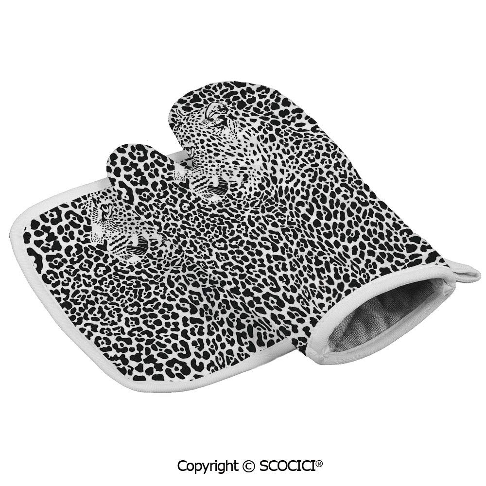 SCOCICI Baking Anti-Hot Glove Illustration Pattern Leopard and Animal Print Wildlife Oven Microwave Mitts Pot with Square Mat