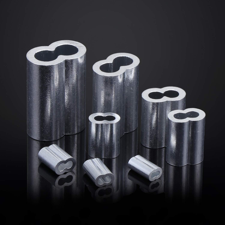 WiMas 340PCS Doble Ca/ñ/ón Clips de Mangas De Aluminio 8 Tama/ños M1.2-M6 Virolas de Aluminio