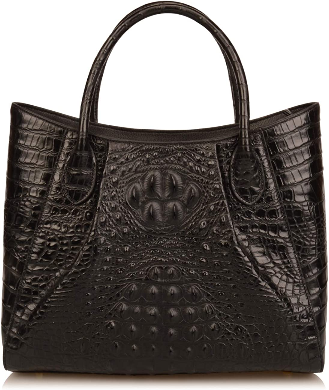 Ainifeel Women's Crocodile Embossed Genuine Leather Purse Top Handle Handbags Totes Shoulder Bags Everyday Purses