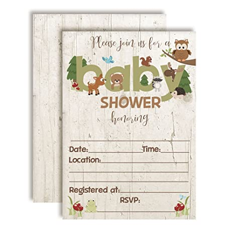 Amazoncom Woodland Baby Shower Invitations With Owl Bear Deer