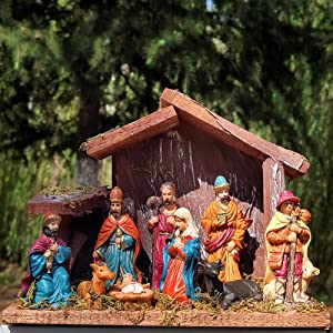 foci cozi Christmas Nativity Figurine - Nativity Scene Statue with Wooden and Moss Stable
