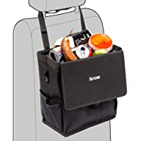 iKross Hanging Car Trash Organizer Bin Bag, Leakproof Auto Garbage Litter Storage Box with Cover Lid, Detachable Backseat Strap and Side Pockets - Black