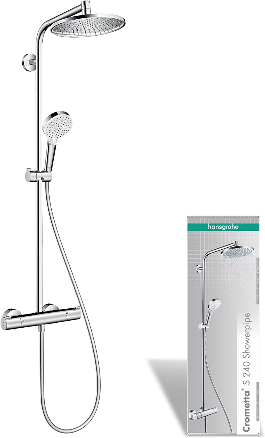 hansgrohe Crometta S Showerpipe 240 1jet with thermostatic shower mixer