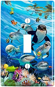 GRAPHICS & MORE Underwater Ocean Selfie Orca Shark Dolphin Sea Turtle Coral Plastic Wall Decor Toggle Light Switch Plate Cover