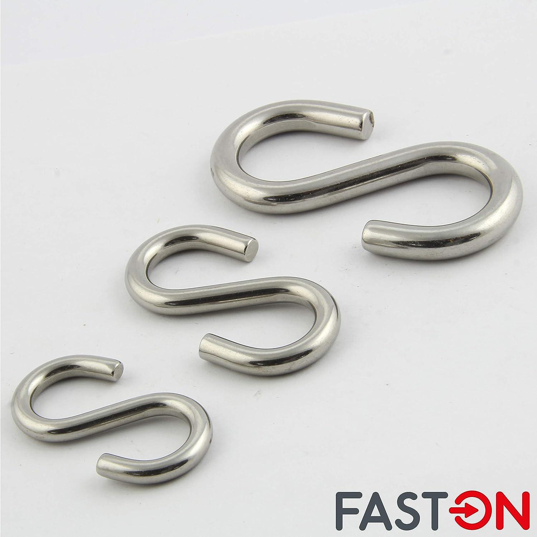 H/ängehaken K/üchenhaken Metallhaken FASTON/® Universalhaken D=10 S-Haken symmetrisch aus rostfreiem Edelstahl A4 V4A INOX 2 St/ück