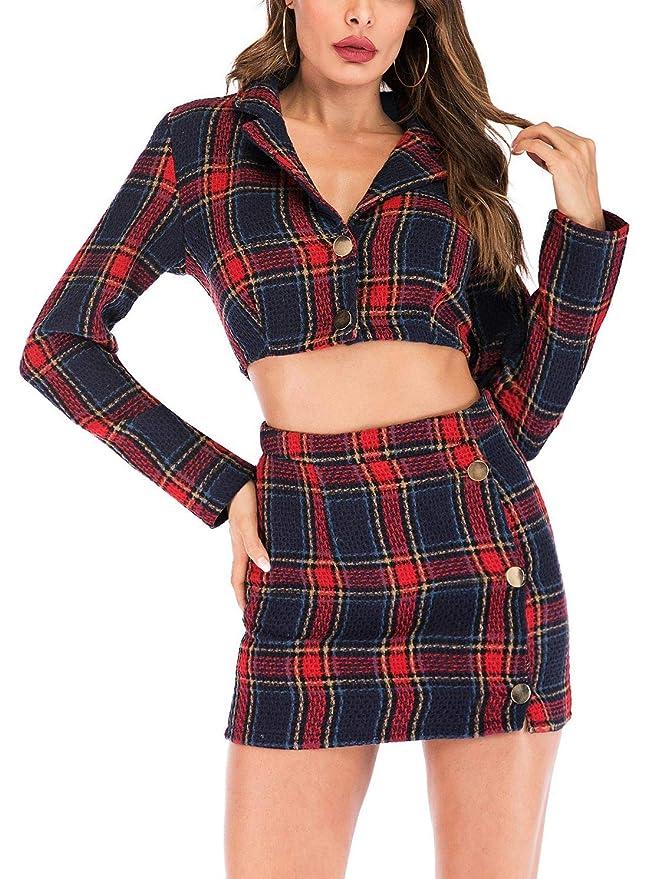 f7d83554d907 Amazon.com: futurino Women's Long Sleeve Plaid Crop Top Bodycon Mini Skirt  Outfit 2 Piece Set: Clothing