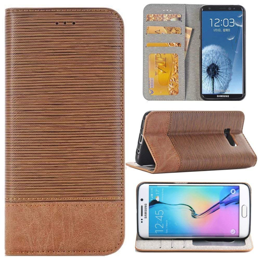 Samsung S8 Case Wallet,Miya Flip Folio Kickstand Card Slot Protective Cover Case for Women Men for Samsung Galaxy S8 - Light Brown