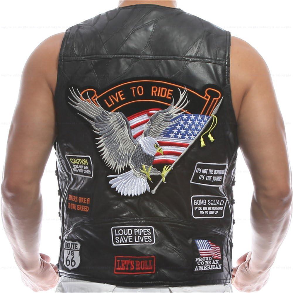 Diamond Plate Mens Rock Design Genuine Sheepskin Leather Vest W// 14 Patches