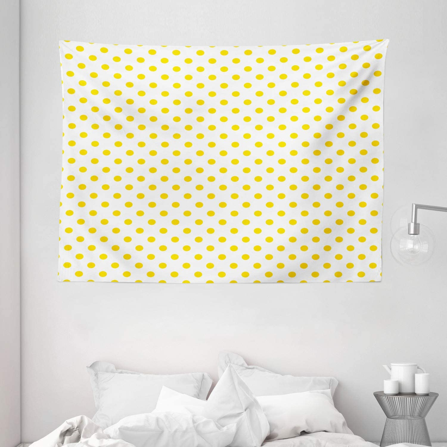 Amazon Com Ambesonne Yellow Tapestry Picnic Like 50s 60s 70s Retro Themed Yellow Spotted White Pattern Print Wide Wall Hanging For Bedroom Living Room Dorm 80 X 60 Yellow And White Home