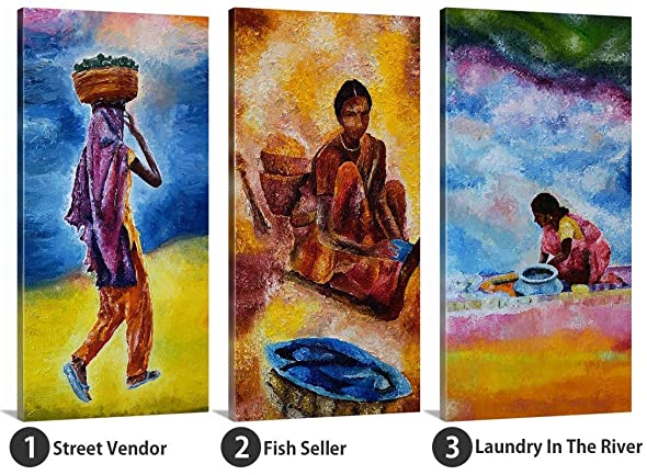 Canvas Wall Art India. Women from India Series Oil Painting Canvas Prints for Home Wall Art Decor. Ready to Hang Wall Art for Living Room Bedroom Decoration. Choose from 20 Different Options.