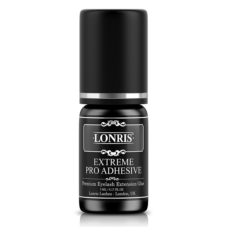 EXTRA STRONG Eyelash Extension Glue Lonris | 1-2 Seconds - Drying Time | Retention - 8 Weeks | Individual Semi Permanent Professional Adhesive Eye Lash Bonding Supplies Latex Free | Black 5 ml