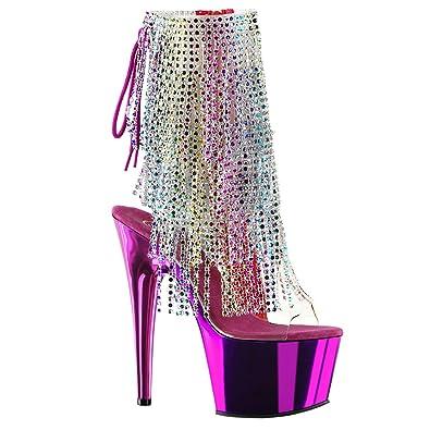 1ab0cf8e785 Amazon.com | Womens Fringe High Heels Rainbow Boots Rhinestone ...