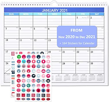 Wire Binding 2020 Wall Calendar 12 Monthly Academic Desk Calendar with Julian Date,11 X 15 with Twin